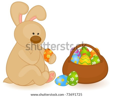 easter bunnies and eggs. stock photo : Easter Bunny
