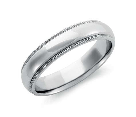 Milgrain Comfort Fit Wedding Ring in Palladium (5mm