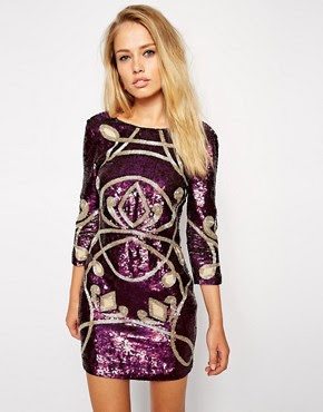 Image 1 ofNeedle & Thread Contour Ornate Long Sleeve Dress