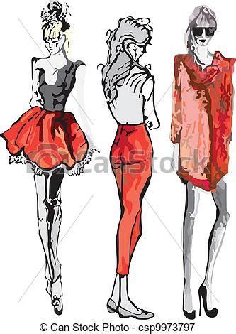 fashion model hand drawn fashion model vector illustration