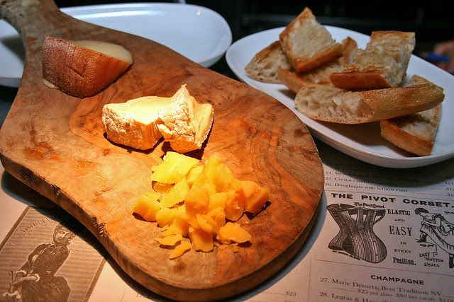 Cheese platter (front to back) - VSOP aged Gouda, Perl Wen, Torta Del Casar