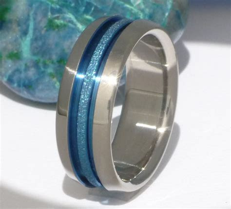 Blue Titanium Wedding Band   Thin Blue Line Ring   Custom