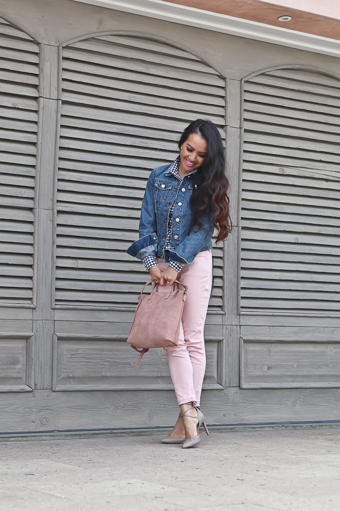Banana Republic denim jacket, MADISON 12-HOUR ANKLE-WRAP PUMP, MINI TRANSPORT SUEDE CROSSBODY BAG, petite gingham shirt, pink skinny crop jeans