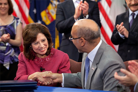 Secretary Solis at MOU signing