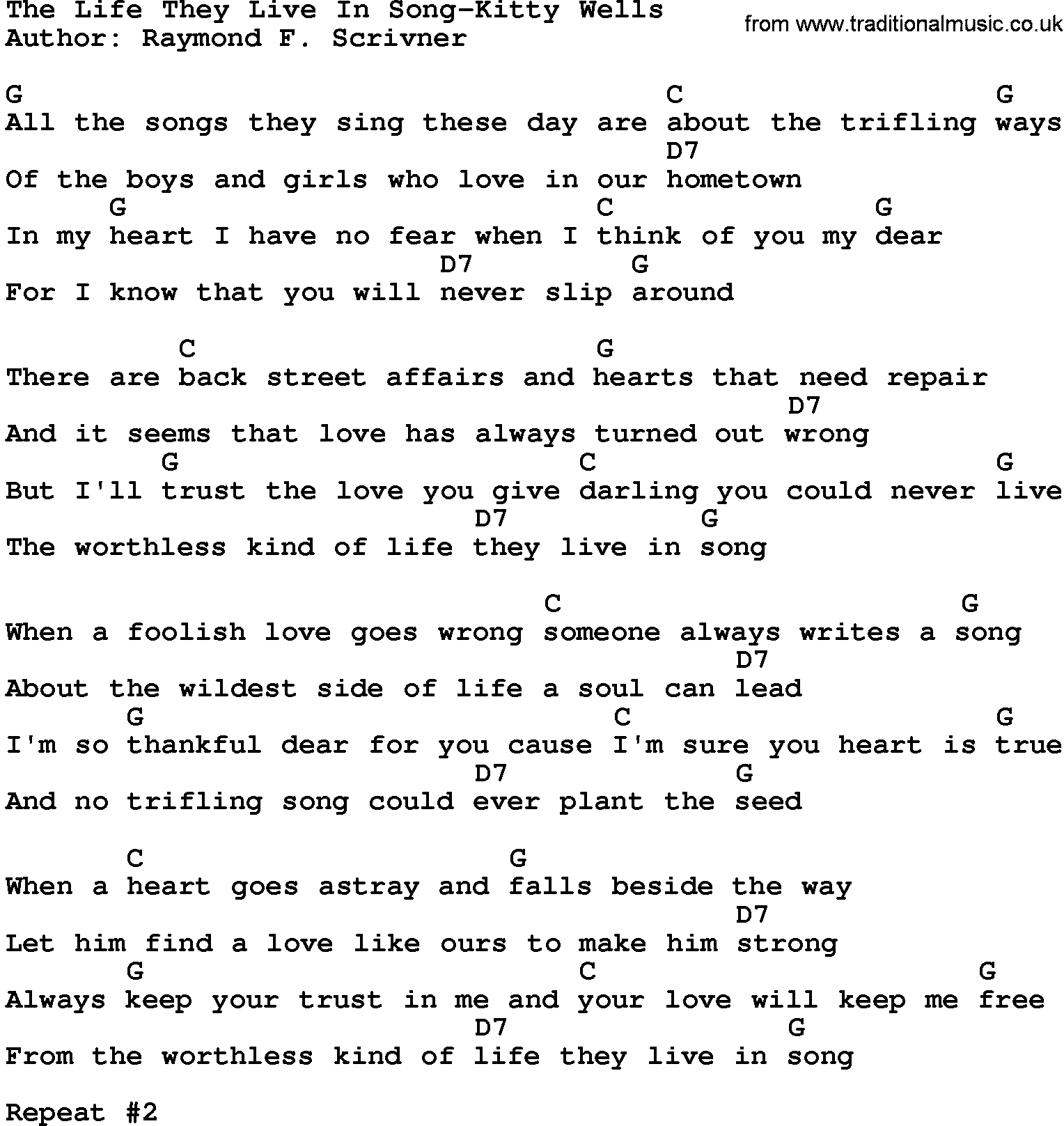 Country Musicthe Life They Live In Song Kitty Wells Lyrics And Chords