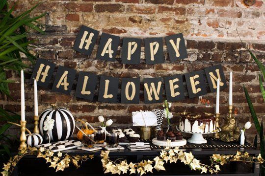 A Chic Halloween Table in Black, White, & Gold — Brit + Co.   Apartment Therapy