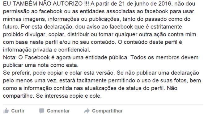 Post no Facebook