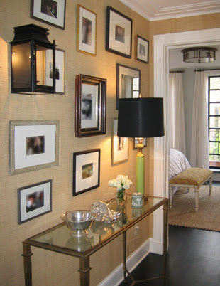 entrances/foyers - grass cloth  picture frames  console  table  lamp  gold  green  black  entrance  foyer  Lovely Foyer from Nate Berkus!  Gold