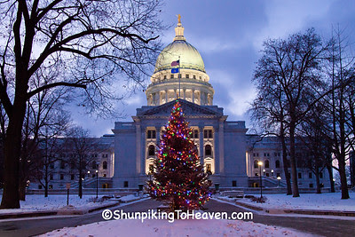 Wisconsin State Capitol at Christmas, Madison, Wisconsin