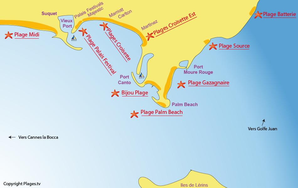 Plan des plages de Cannes