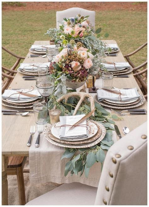 Chic, rustic wedding reception inspiration with farm table