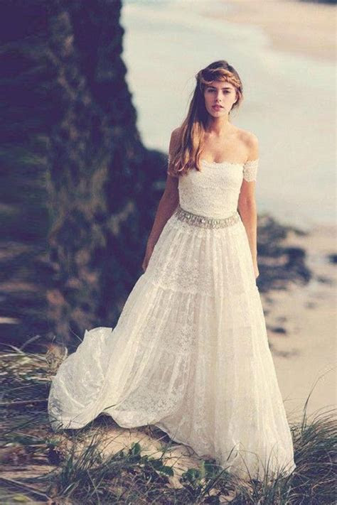 Off Shoulder Open Back Wedding Dresses,Beading Belt Beach