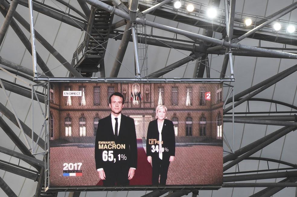 Monitor de TV mostra o resultado de pesquisas do segundo turno da eleição francesa com vitória de Macron (Foto: BORIS HORVAT / AFP)