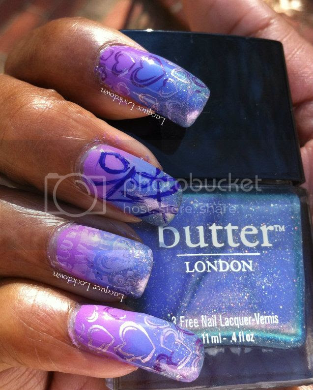 Lacquer Lockdown - BM317, BM311, Essie Nothing Else Metals, Essie Play Date & Boxershorts, Butter London Knackered, Konad Special Polish in Pastel Purple and Purple, stamping, bundle monster 2012