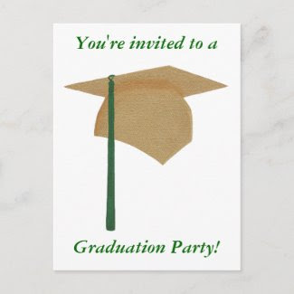 Graduation Party Invitations, Gold and Green Cap postcard