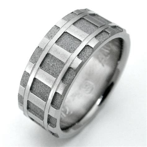 Denver titanium ring with railroad tracks   Titanium