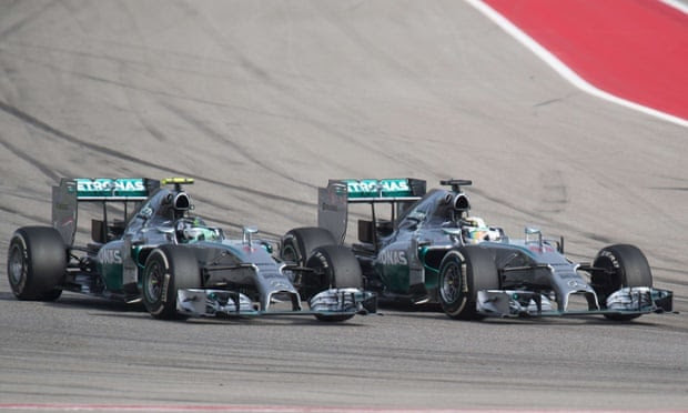 Lewis Hamilton overtakes his teammate Nico Rosberg to take the lead at the Circuit of the Americas.