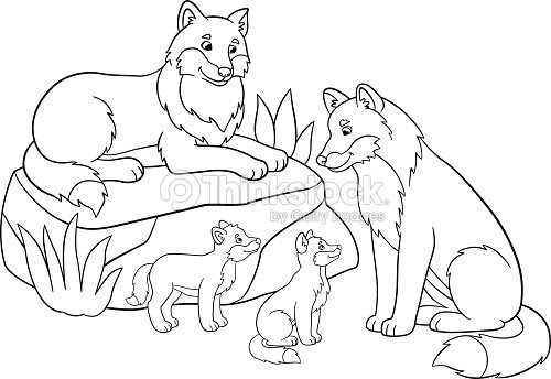 Coloring Pages Mother And Father Wolves With Their Babies ...