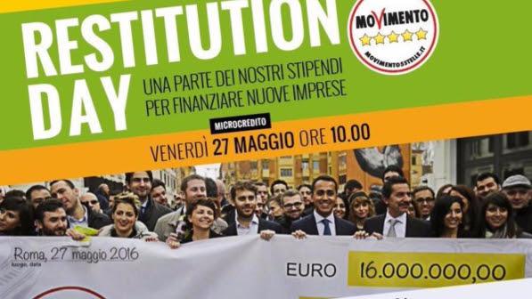 Restitution Day, M5S risparmia 16 milioni di euro: confluiti nel fondo per il microcredito