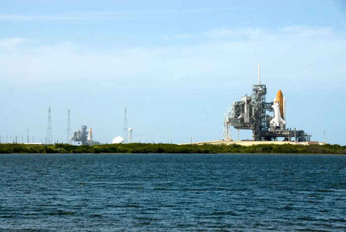 Space shuttle Endeavour (left) joins her sister Atlantis (right) at Launch Complex 39, on April 17, 2009.