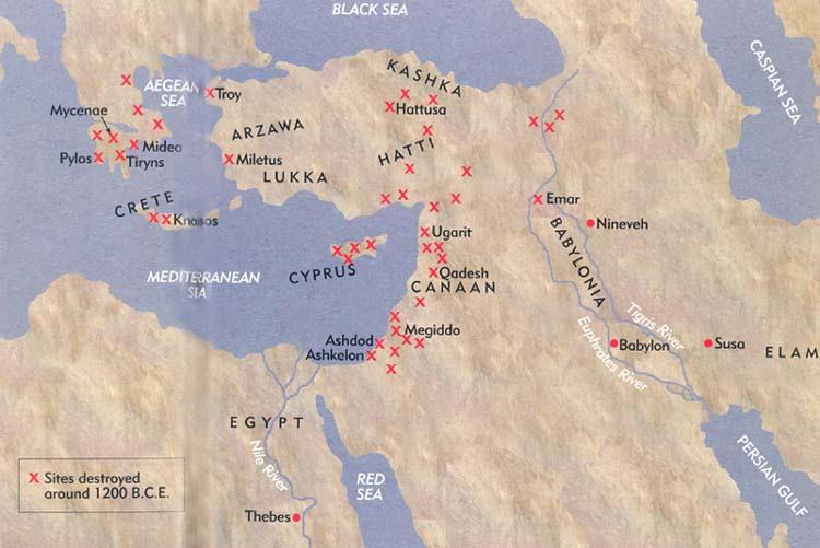 Οι κατεστραμμένες πόλεις στην Ανατολική Μεσόγειο στο τέλος της εποχής του Χαλκού