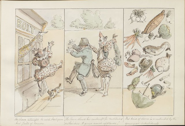 Pantomime as it was is and will be by Alfred Crowquill (aka Alfred H Forrester) - 1849 - (The clown attempts to catch Harlequin...) - courtesy Harvard U
