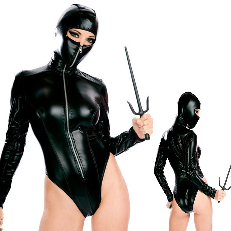 Sale  New High Quality Sexy Patent Leather Catsuit Halloween Sexy Ninja Cosplay Costumes Masked Woman Clu