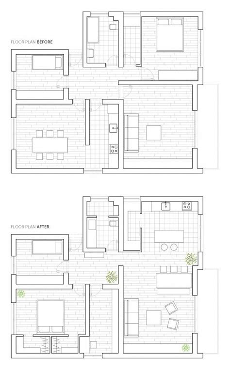 Home remodel floor plan | before and after | apartment