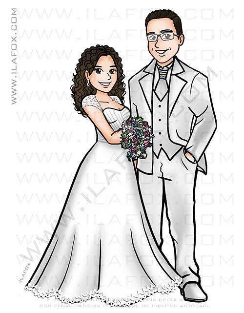 Caricatura dos noivos, caricatura casal, caricatura noivo de branco, caricaturas bonitas, caricaturas sem exageros, caricatura para casamento by ila fox