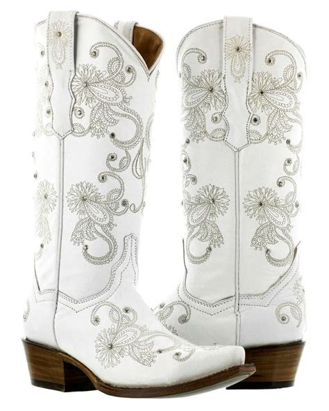 womens full white western wedding rhinestone