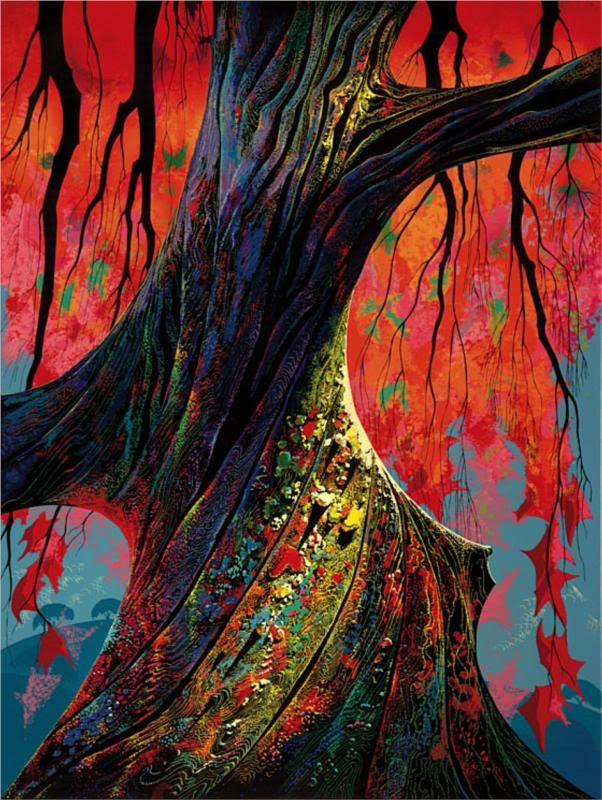 Fire red and gold  by Eyvind Earle...getting that feeling that there is nothing out of place .. all parts of a single organism