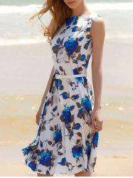 Vintage Sleeveless Floral Printed Belted Dress
