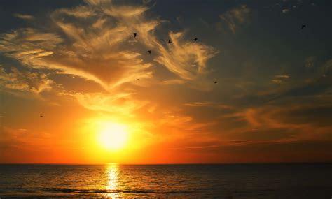 wallpaper sunrise sea hd nature
