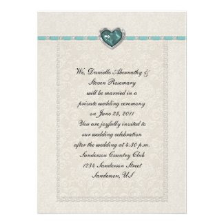 Teal Jewel Heart Ribbons & Lace Post Wedding Personalized Invitation