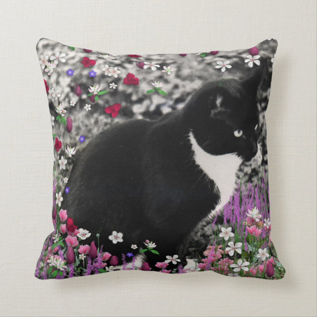Freckles in Flowers II, Tuxedo Kitty Cat Throw Pillows