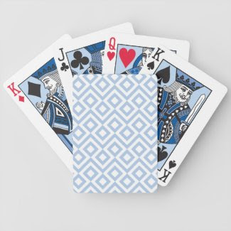 Light Blue and White Meander Deck Of Cards