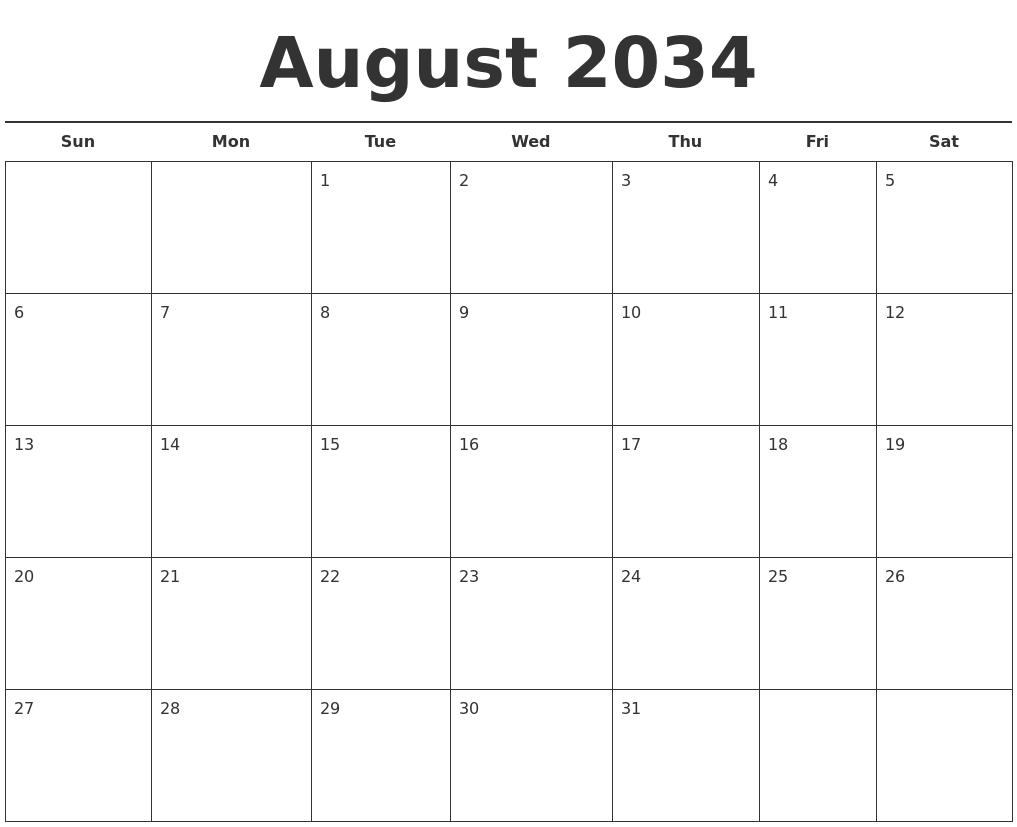 august 2034 free calendar template