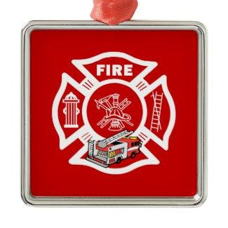 Red Fire Truck Rescue ornament