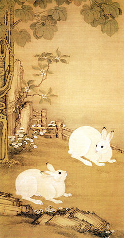 Two Rabbits under Chinese Parasol Tree by Leng Mei