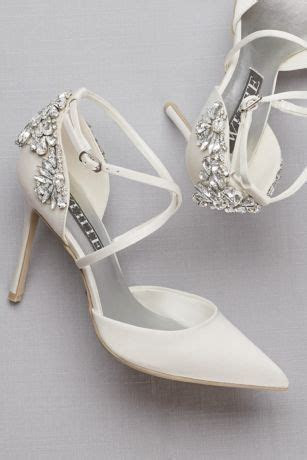 Pointed Toe Cross Strap Heels with Crystal Back   David's