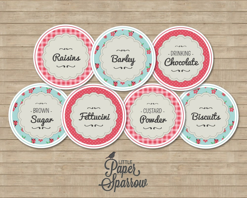 EDITABLE JAR LABELS Pantry Jar Labels by LittlePaperSparrow