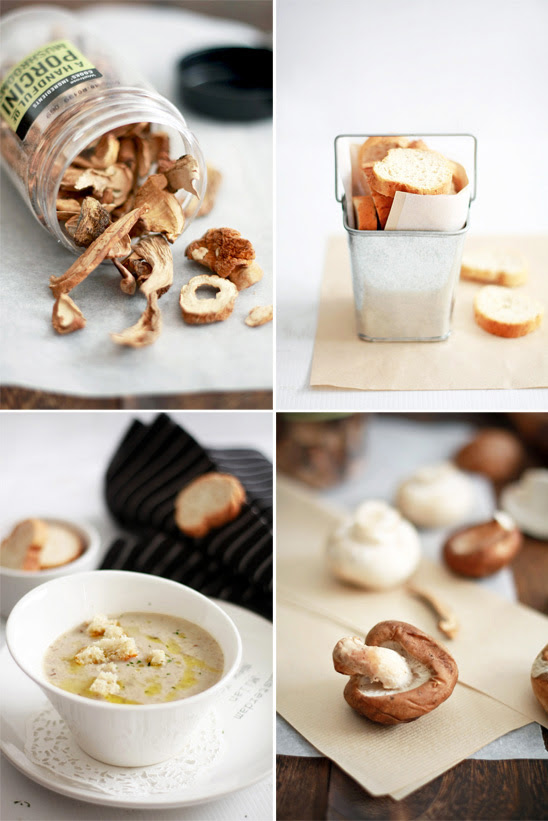 Mushroom Soup With Truffle Oil & Croutons