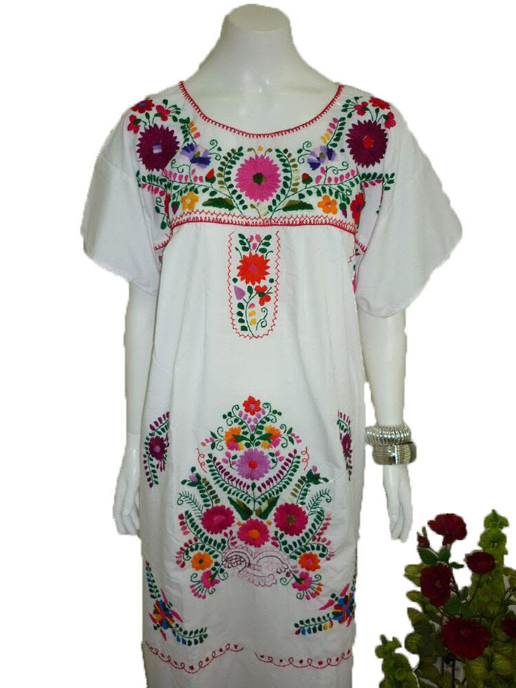 any color peasant vintage tunic embroidered mexican dress