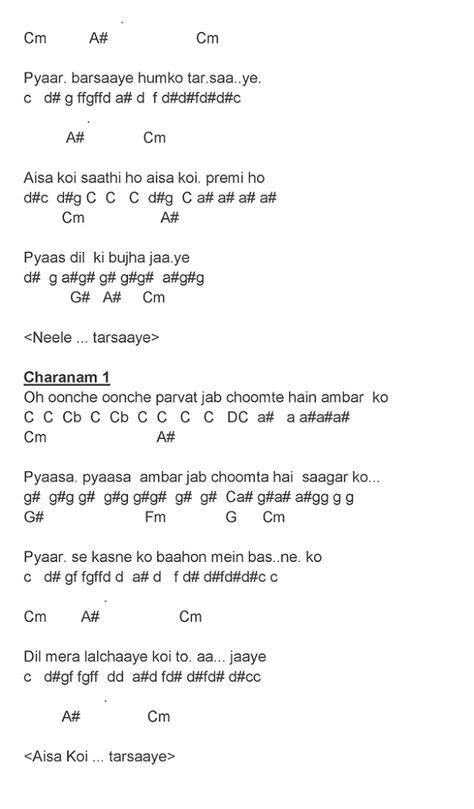 Hindi Song Notes And Keys: Neele Neele Ambar Par