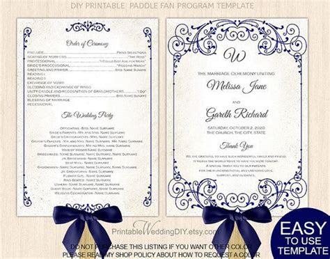 navy blue wedding fan program diy printable wedding fan