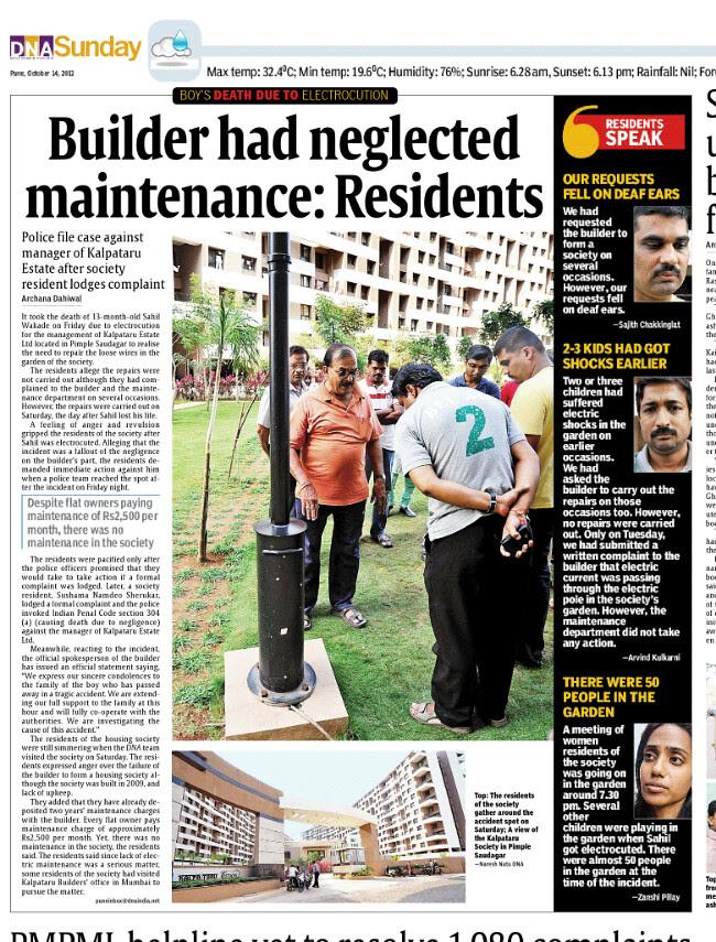 14 Month Baby Dies in Kalpataru Estate Pimple Gurav Pune 411061 Because of the Negligent Builder