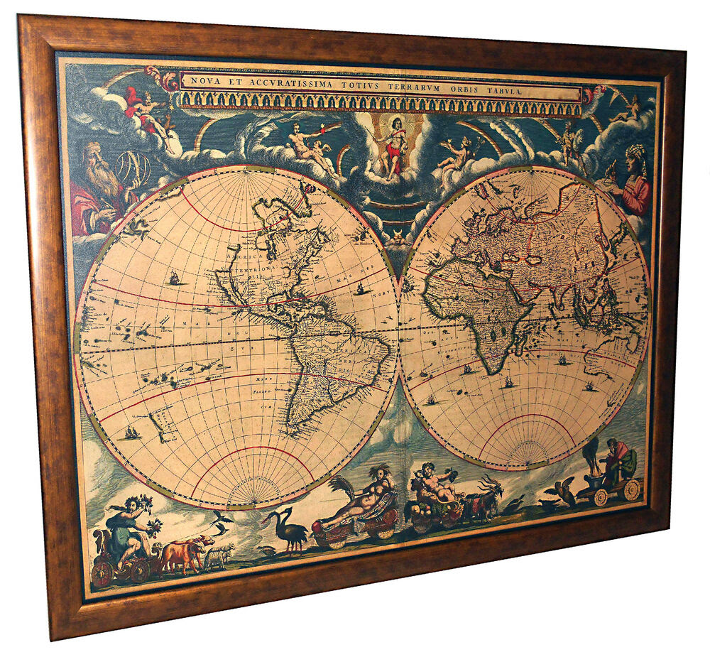 Framed 1662 Antique World Map On Canvas  Dual