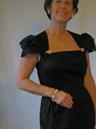 Black dress with vintage jewelry