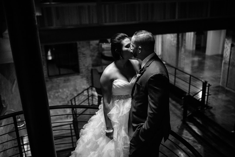 Romantic night time portraits with the bride and groom at Prairie Street Brewhouse before they make their grand entrance at their wedding reception