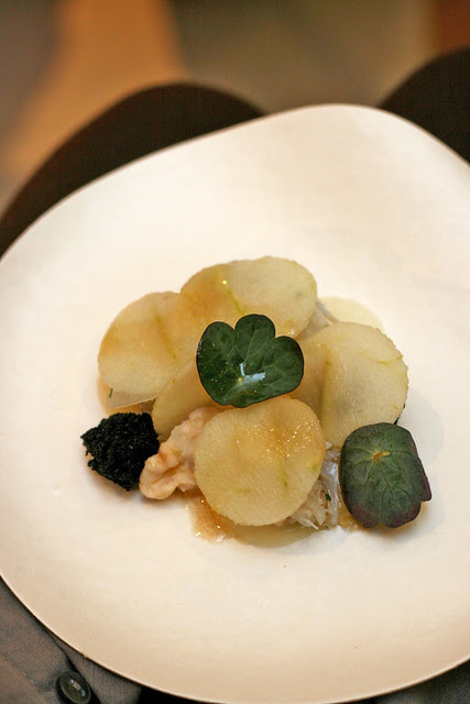 Mud Crab and Kohlrabi, Apple and Nasturtiums